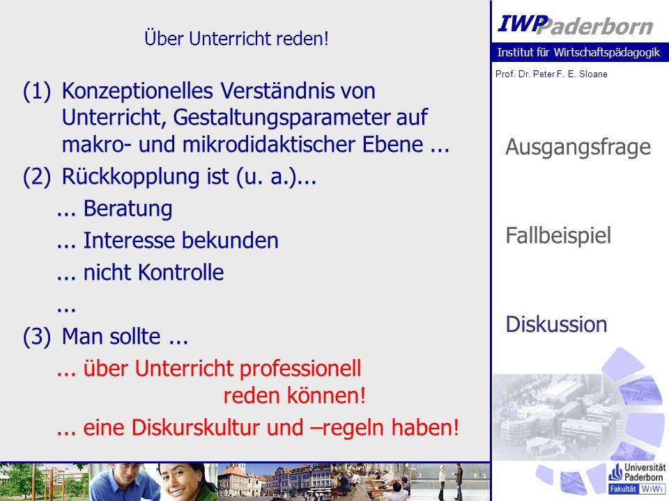 Institut für Wirtschaftspädagogik Prof. Dr. Peter F. E. Sloane Paderborn IWP Über Unterricht reden! Ausgangsfrage Fallbeispiel Diskussion (1)Konzeptio