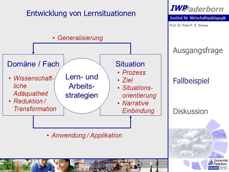Institut für Wirtschaftspädagogik Prof. Dr. Peter F. E. Sloane Paderborn IWP Entwicklung von Lernsituationen SituationDomäne / Fach Lern- und Arbeits-