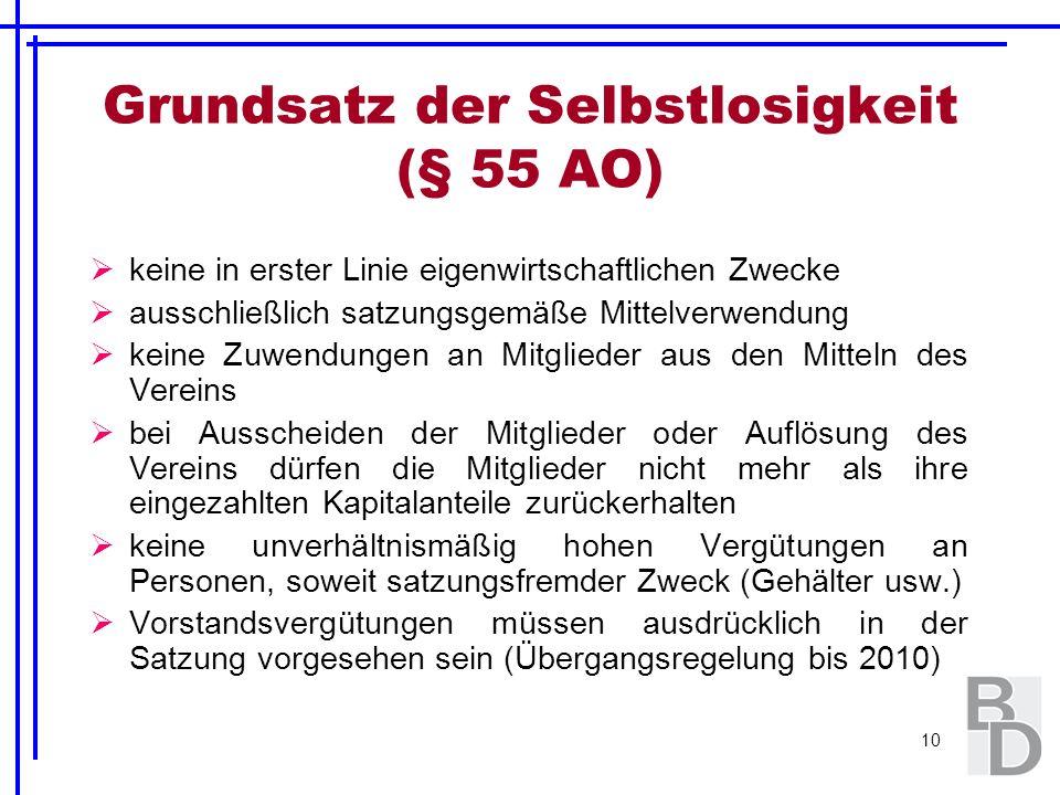 10 Grundsatz der Selbstlosigkeit (§ 55 AO) keine in erster Linie eigenwirtschaftlichen Zwecke ausschließlich satzungsgemäße Mittelverwendung keine Zuw