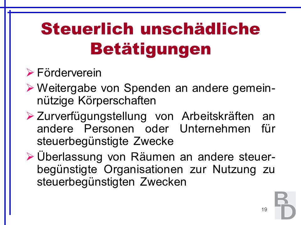 19 Steuerlich unschädliche Betätigungen Förderverein Weitergabe von Spenden an andere gemein- nützige Körperschaften Zurverfügungstellung von Arbeitsk