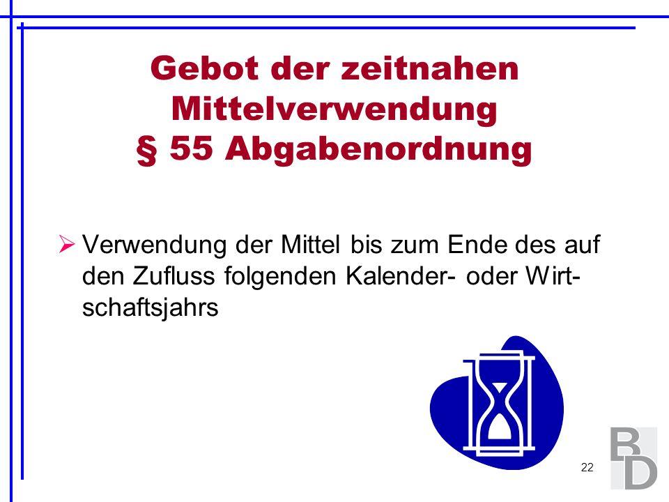 22 Gebot der zeitnahen Mittelverwendung § 55 Abgabenordnung Verwendung der Mittel bis zum Ende des auf den Zufluss folgenden Kalender- oder Wirt- scha
