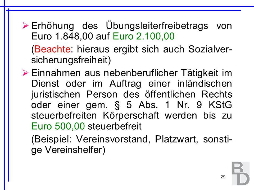 29 Erhöhung des Übungsleiterfreibetrags von Euro 1.848,00 auf Euro 2.100,00 (Beachte: hieraus ergibt sich auch Sozialver- sicherungsfreiheit) Einnahme