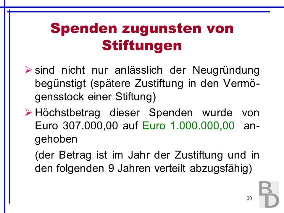 30 Spenden zugunsten von Stiftungen sind nicht nur anlässlich der Neugründung begünstigt (spätere Zustiftung in den Vermö- gensstock einer Stiftung) H