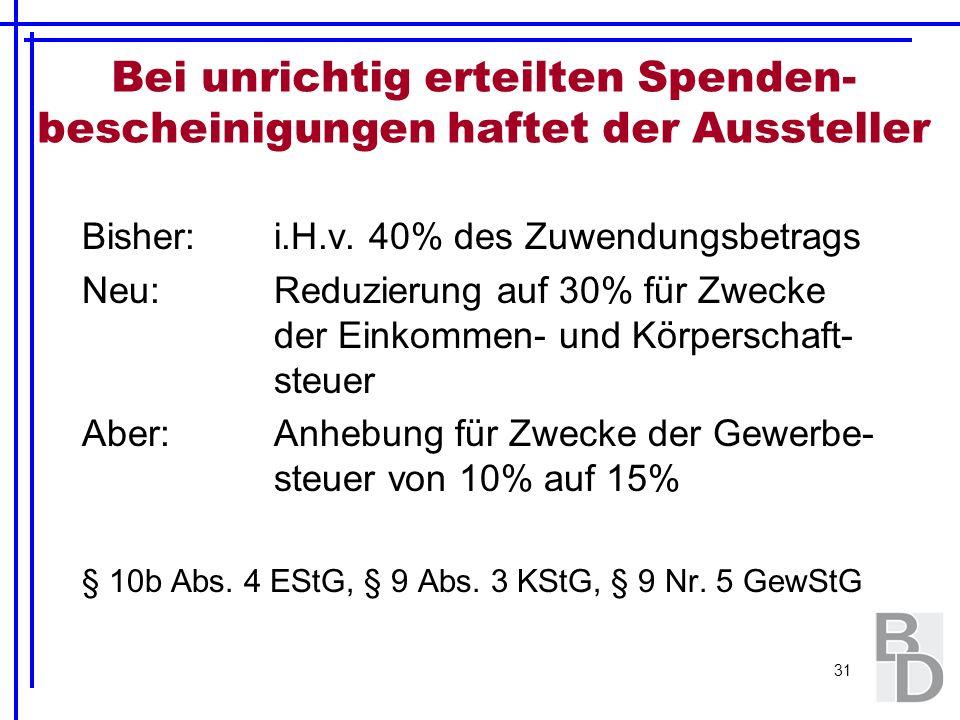 31 Bei unrichtig erteilten Spenden- bescheinigungen haftet der Aussteller Bisher:i.H.v. 40% des Zuwendungsbetrags Neu:Reduzierung auf 30% für Zwecke d