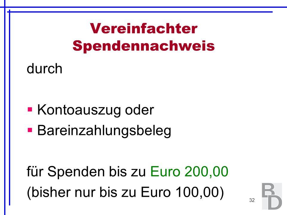32 Vereinfachter Spendennachweis durch Kontoauszug oder Bareinzahlungsbeleg für Spenden bis zu Euro 200,00 (bisher nur bis zu Euro 100,00)
