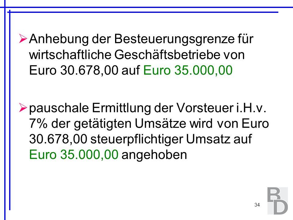 34 Anhebung der Besteuerungsgrenze für wirtschaftliche Geschäftsbetriebe von Euro 30.678,00 auf Euro 35.000,00 pauschale Ermittlung der Vorsteuer i.H.