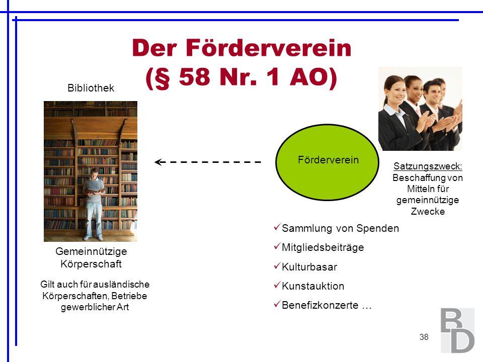 38 Der Förderverein (§ 58 Nr. 1 AO) Bibliothek Gemeinnützige Körperschaft Gilt auch für ausländische Körperschaften, Betriebe gewerblicher Art Förderv