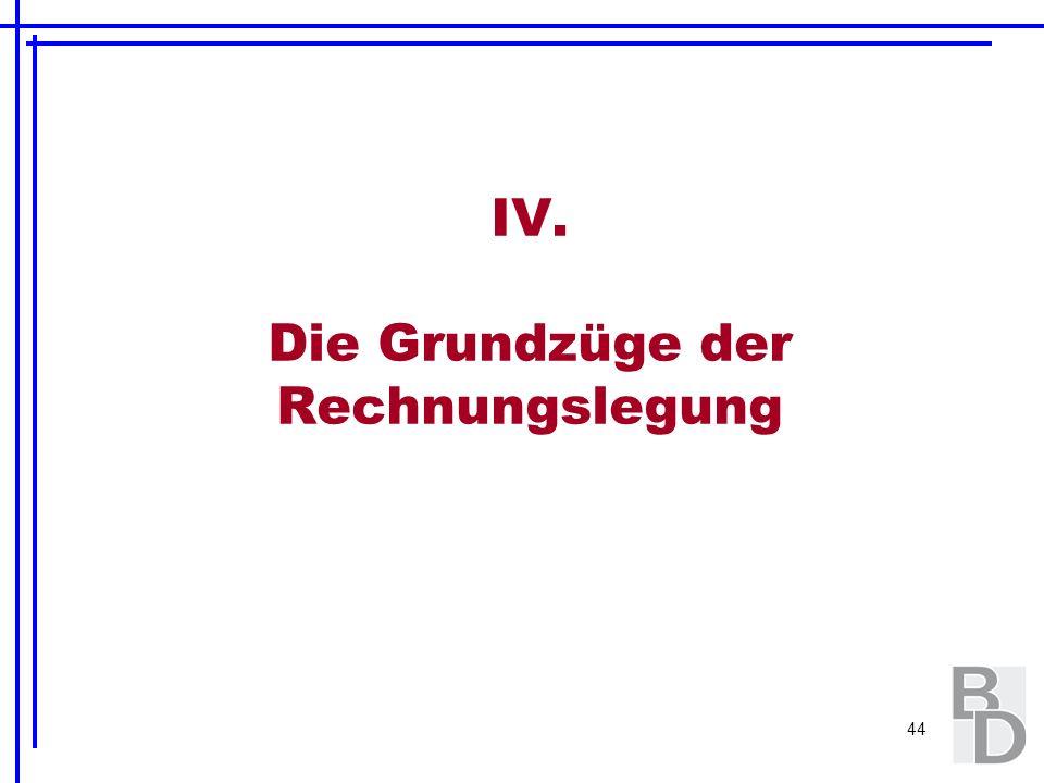 44 IV. Die Grundzüge der Rechnungslegung