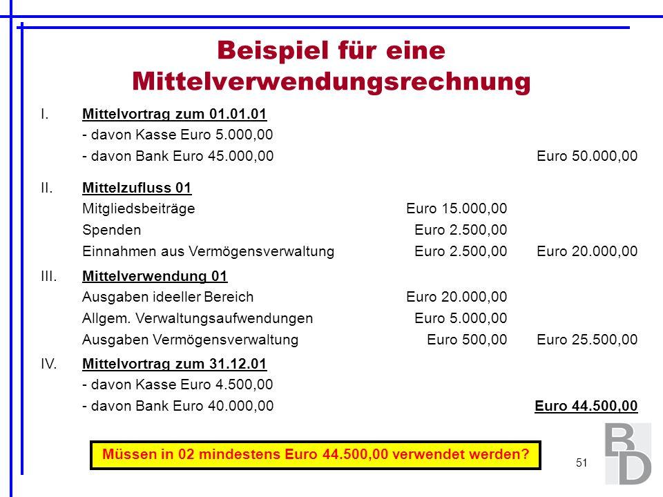 51 Beispiel für eine Mittelverwendungsrechnung I.Mittelvortrag zum 01.01.01 - davon Kasse Euro 5.000,00 - davon Bank Euro 45.000,00Euro 50.000,00 II.M