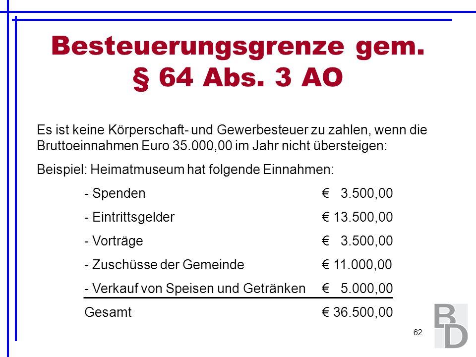 62 Besteuerungsgrenze gem. § 64 Abs. 3 AO Es ist keine Körperschaft- und Gewerbesteuer zu zahlen, wenn die Bruttoeinnahmen Euro 35.000,00 im Jahr nich