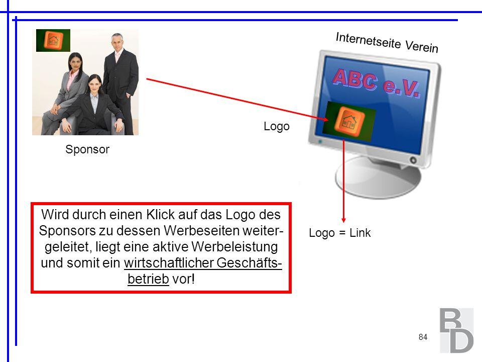 84 Internetseite Verein Sponsor Logo Logo = Link Wird durch einen Klick auf das Logo des Sponsors zu dessen Werbeseiten weiter- geleitet, liegt eine a