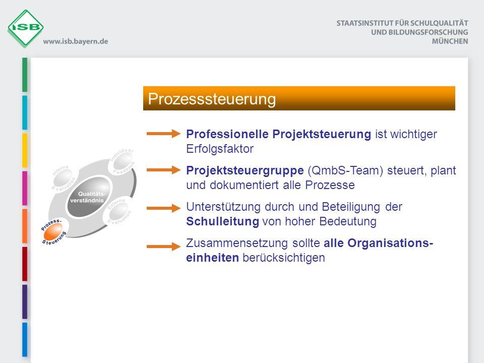 Professionelle Projektsteuerung ist wichtiger Erfolgsfaktor Projektsteuergruppe (QmbS-Team) steuert, plant und dokumentiert alle Prozesse Unterstützung durch und Beteiligung der Schulleitung von hoher Bedeutung Zusammensetzung sollte alle Organisations- einheiten berücksichtigen Prozesssteuerung