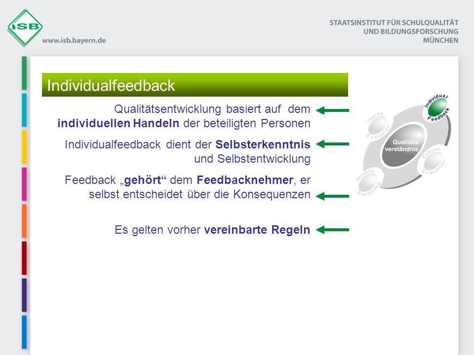 Qualitätsentwicklung basiert auf dem individuellen Handeln der beteiligten Personen Individualfeedback dient der Selbsterkenntnis und Selbstentwicklun