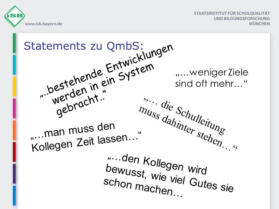 Statements zu QmbS:..bestehende Entwicklungen werden in ein System gebracht.. … die Schulleitung muss dahinter stehen… …man muss den Kollegen Zeit las