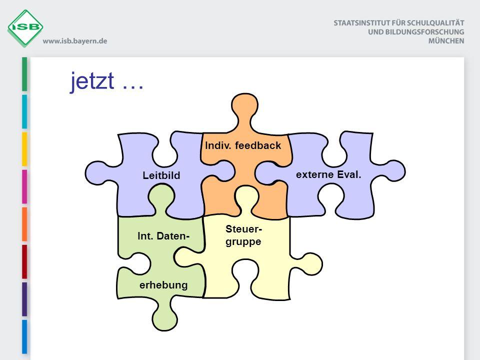 Steuer- gruppe Leitbild erhebung Int. Daten- Indiv. feedback externe Eval. jetzt …