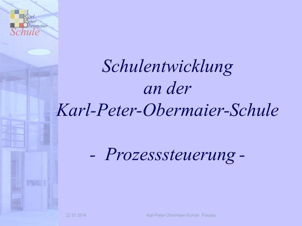 22.01.2014Karl-Peter-Obermaier-Schule Passau Schulentwicklung an der Karl-Peter-Obermaier-Schule - Prozesssteuerung -