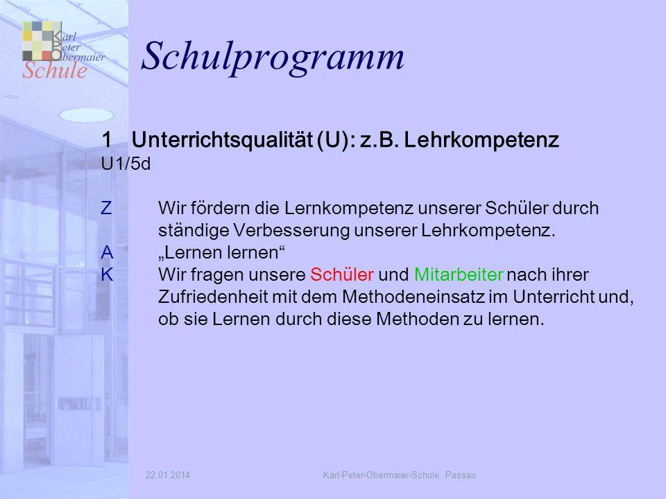 22.01.2014Karl-Peter-Obermaier-Schule Passau Schulprogramm 1 Unterrichtsqualität (U): z.B.