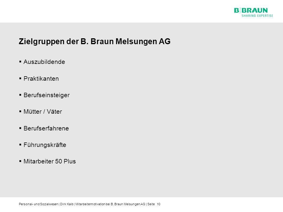 Personal- und Sozialwesen | Dirk Kalb | Mitarbeitermotivation bei B. Braun Melsungen AG | Seite Zielgruppen der B. Braun Melsungen AG Auszubildende Pr