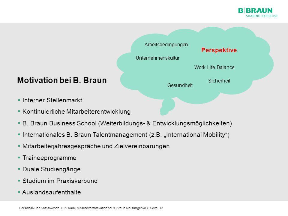 Personal- und Sozialwesen | Dirk Kalb | Mitarbeitermotivation bei B. Braun Melsungen AG | Seite13 Arbeitsbedingungen Unternehmenskultur Sicherheit Per