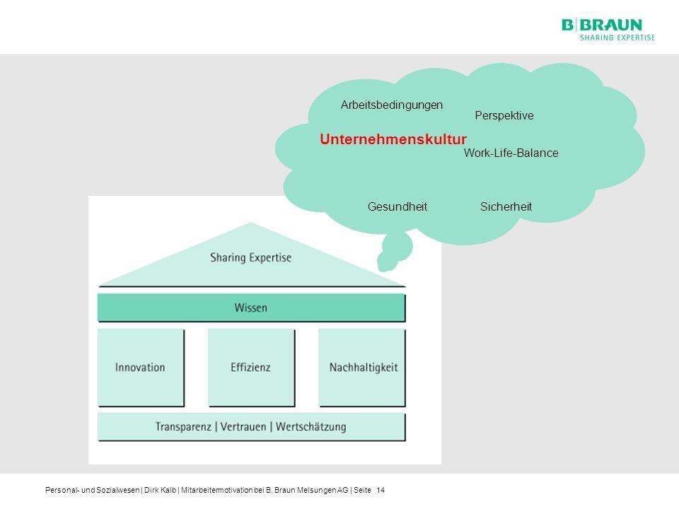 Personal- und Sozialwesen | Dirk Kalb | Mitarbeitermotivation bei B. Braun Melsungen AG | Seite14 Arbeitsbedingungen Unternehmenskultur Sicherheit Per
