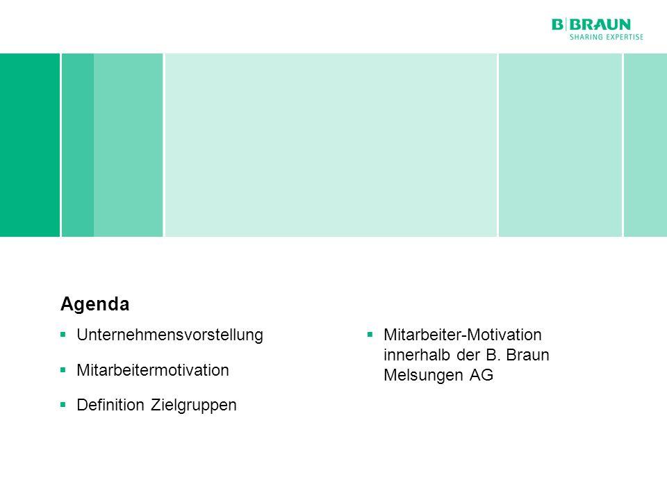 Personal- und Sozialwesen | Dirk Kalb | Mitarbeitermotivation bei B. Braun Melsungen AG | Seite2 Agenda Unternehmensvorstellung Mitarbeitermotivation