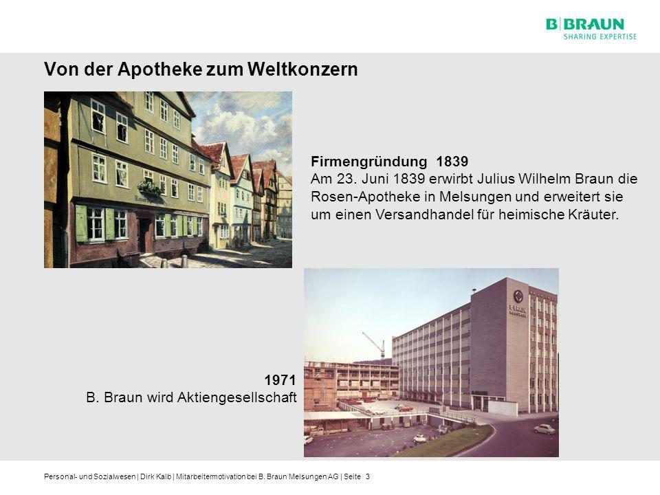 Personal- und Sozialwesen | Dirk Kalb | Mitarbeitermotivation bei B. Braun Melsungen AG | Seite3 Von der Apotheke zum Weltkonzern Firmengründung 1839