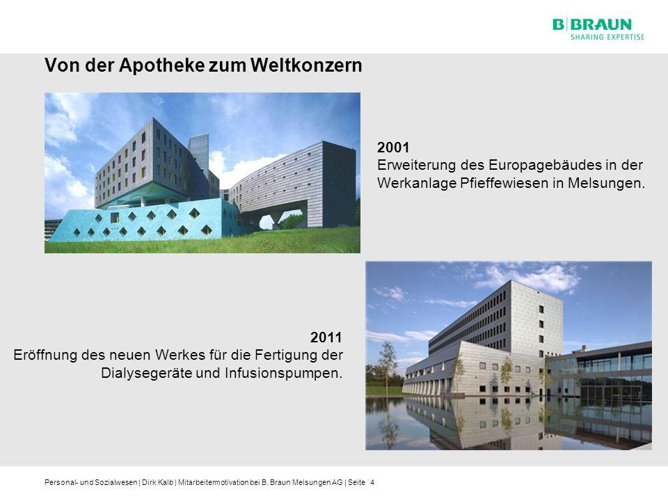 Personal- und Sozialwesen | Dirk Kalb | Mitarbeitermotivation bei B. Braun Melsungen AG | Seite4 Von der Apotheke zum Weltkonzern 2011 Eröffnung des n