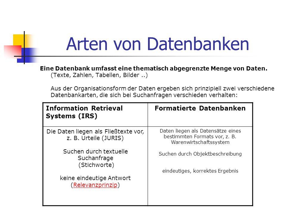 Arten von Datenbanken Eine Datenbank umfasst eine thematisch abgegrenzte Menge von Daten. (Texte, Zahlen, Tabellen, Bilder..) Aus der Organisationsfor