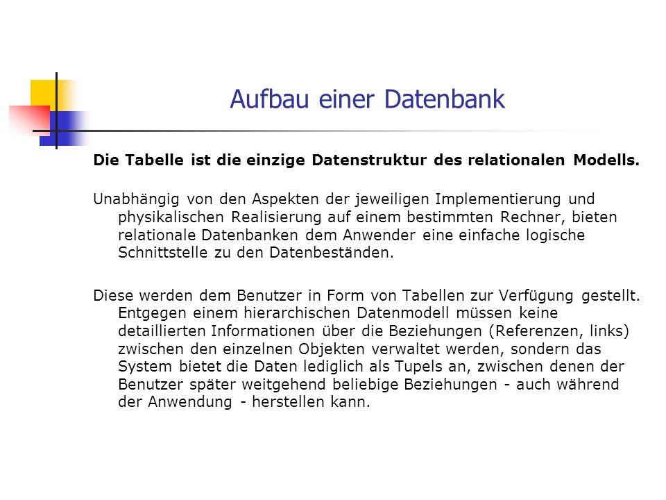 Aufbau einer Datenbank Die Tabelle ist die einzige Datenstruktur des relationalen Modells. Unabhängig von den Aspekten der jeweiligen Implementierung