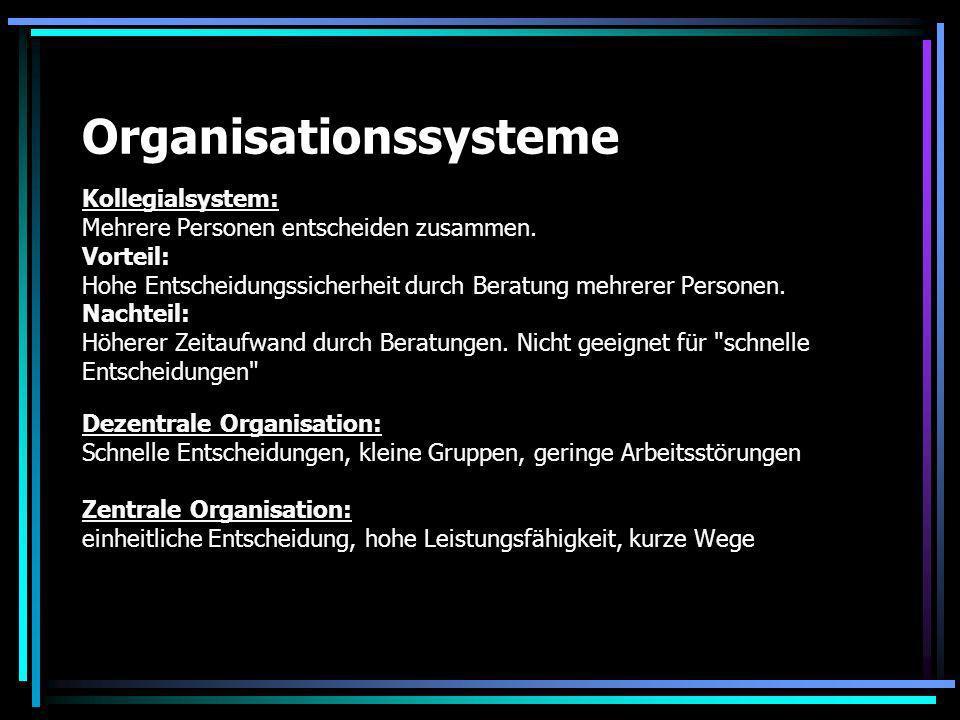 Organisationssysteme Kollegialsystem: Mehrere Personen entscheiden zusammen. Vorteil: Hohe Entscheidungssicherheit durch Beratung mehrerer Personen. N