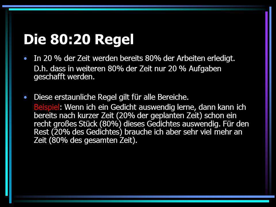 Die 80:20 Regel In 20 % der Zeit werden bereits 80% der Arbeiten erledigt. D.h. dass in weiteren 80% der Zeit nur 20 % Aufgaben geschafft werden. Dies