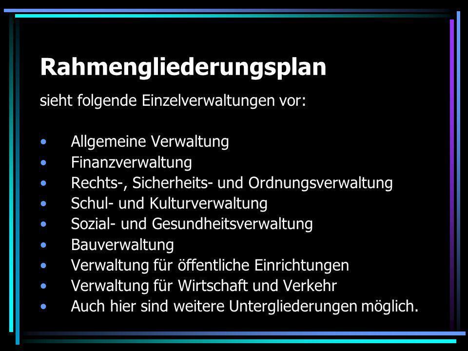 Rahmengliederungsplan sieht folgende Einzelverwaltungen vor: Allgemeine Verwaltung Finanzverwaltung Rechts-, Sicherheits- und Ordnungsverwaltung Schul