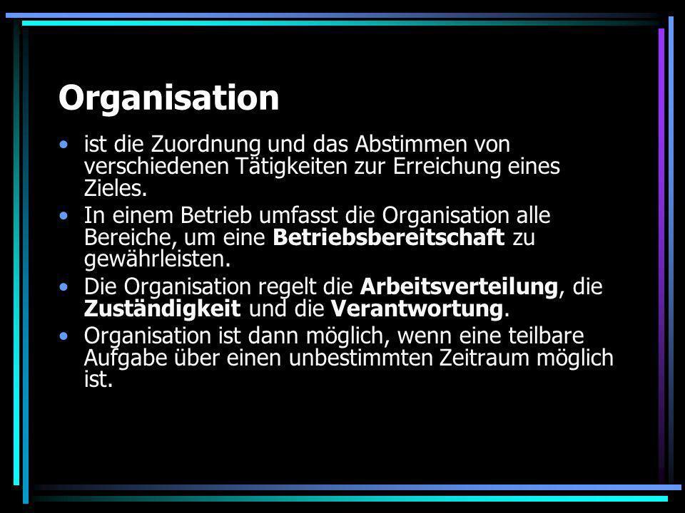 Organisation ist die Zuordnung und das Abstimmen von verschiedenen Tätigkeiten zur Erreichung eines Zieles. In einem Betrieb umfasst die Organisation