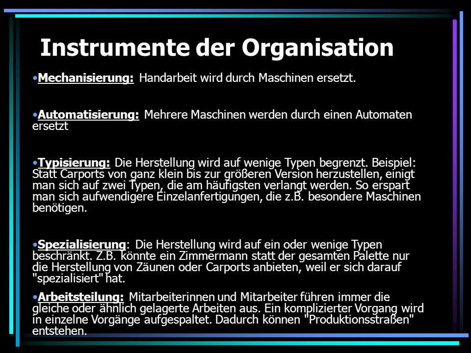 Instrumente der Organisation Mechanisierung: Handarbeit wird durch Maschinen ersetzt. Automatisierung: Mehrere Maschinen werden durch einen Automaten
