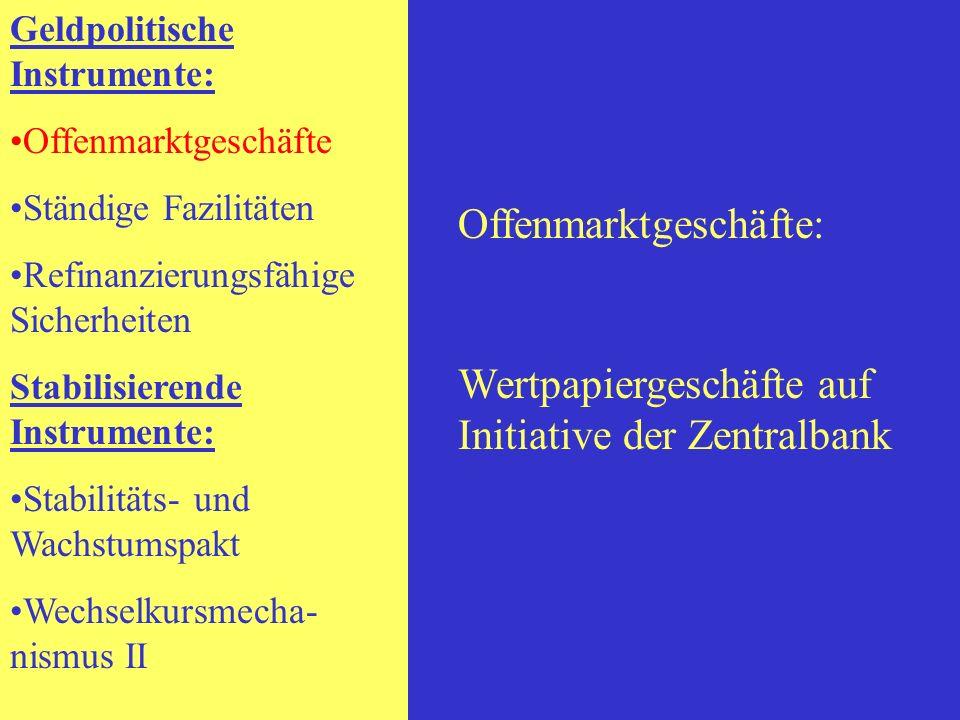 Geldpolitische Instrumente: Offenmarktgeschäfte Ständige Fazilitäten Refinanzierungsfähige Sicherheiten Stabilisierende Instrumente: Stabilitäts- und