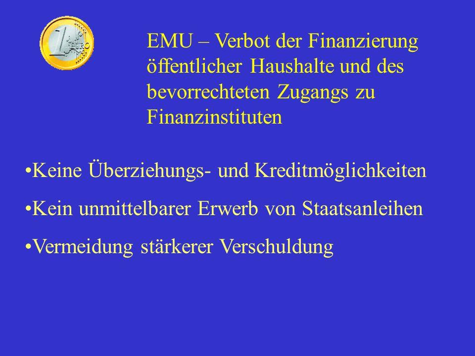 EMU – Verbot der Finanzierung öffentlicher Haushalte und des bevorrechteten Zugangs zu Finanzinstituten Keine Überziehungs- und Kreditmöglichkeiten Ke