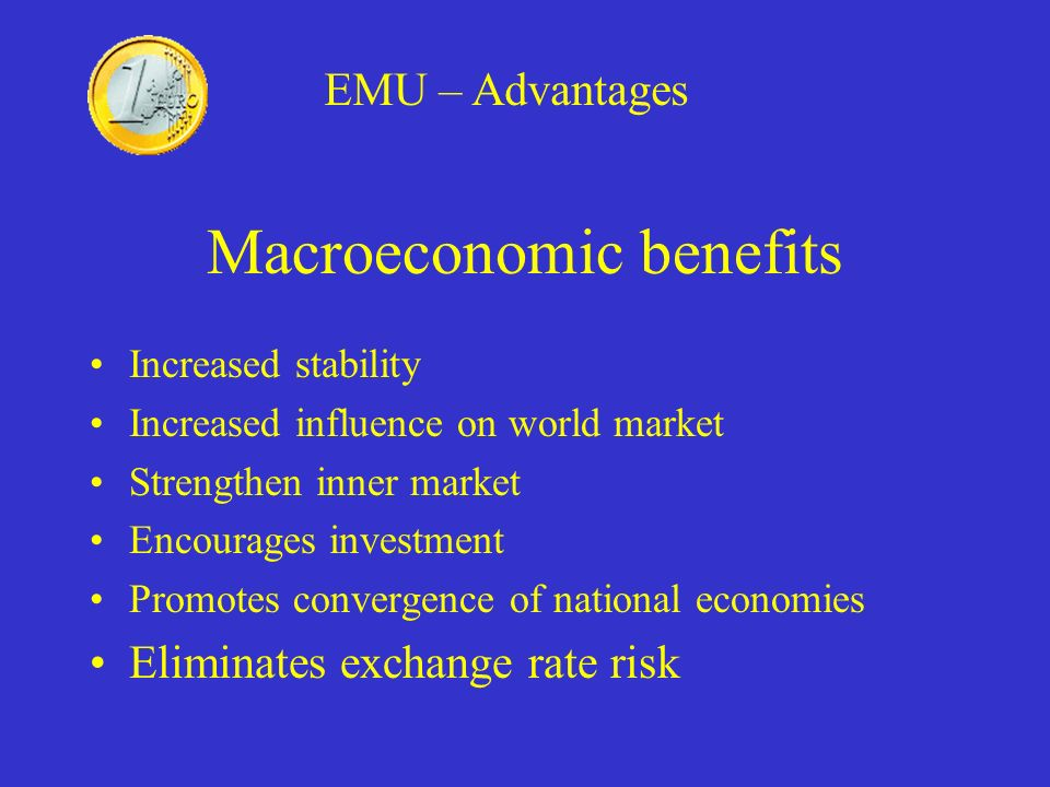 Macroeconomic benefits Increased stability Increased influence on world market Strengthen inner market Encourages investment Promotes convergence of n
