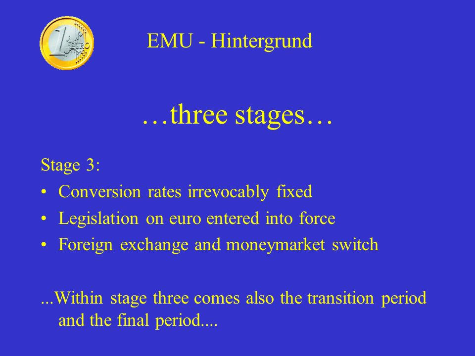 Greece Positive to EMU Were not allowed in, did not meet any of the convergence criteria Will join the EMU on 1 January 2001 EMU – Pre-ins