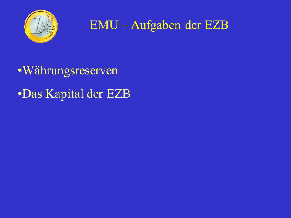 Disadvantages with a single currency Lack of political control over economic decisions Lack of democratic control over the ECB Demands high economic discipline EMU – Disadvantages