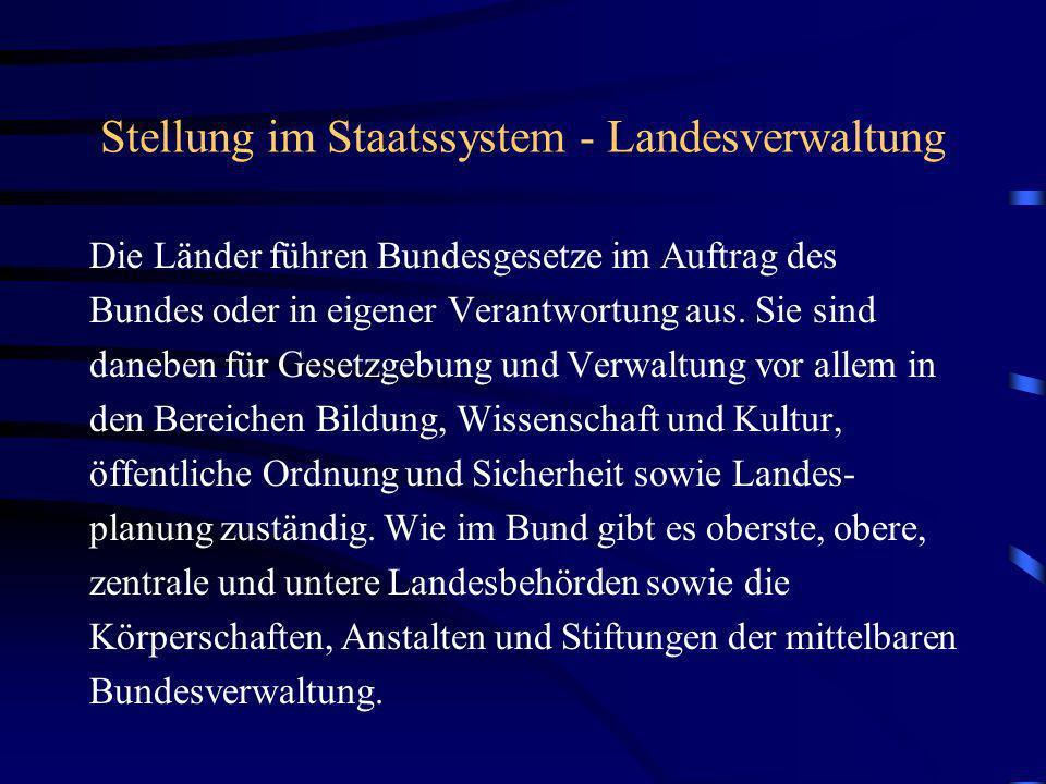 Stellung im Staatssystem - Landesverwaltung Die Länder führen Bundesgesetze im Auftrag des Bundes oder in eigener Verantwortung aus. Sie sind daneben