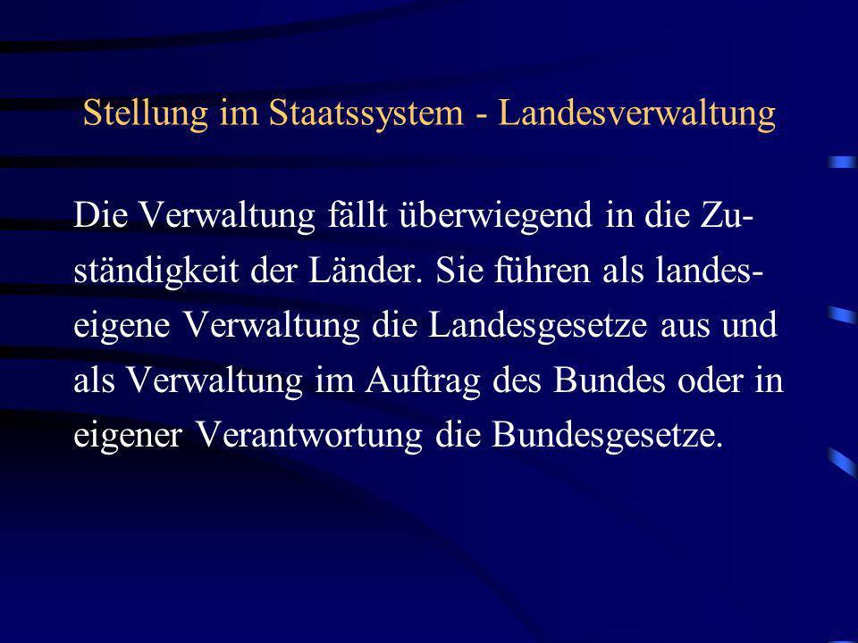 Stellung im Staatssystem - Landesverwaltung Die Verwaltung fällt überwiegend in die Zu- ständigkeit der Länder. Sie führen als landes- eigene Verwaltu