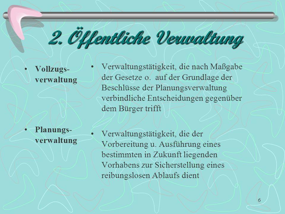 5 2. Öffentliche Verwaltung Fiskalische Verwaltung Ordnungs- verwaltung (Eingriffsverw.) liegt vor, wenn die Verwaltung am priv. Rechtsverkehr teilnim