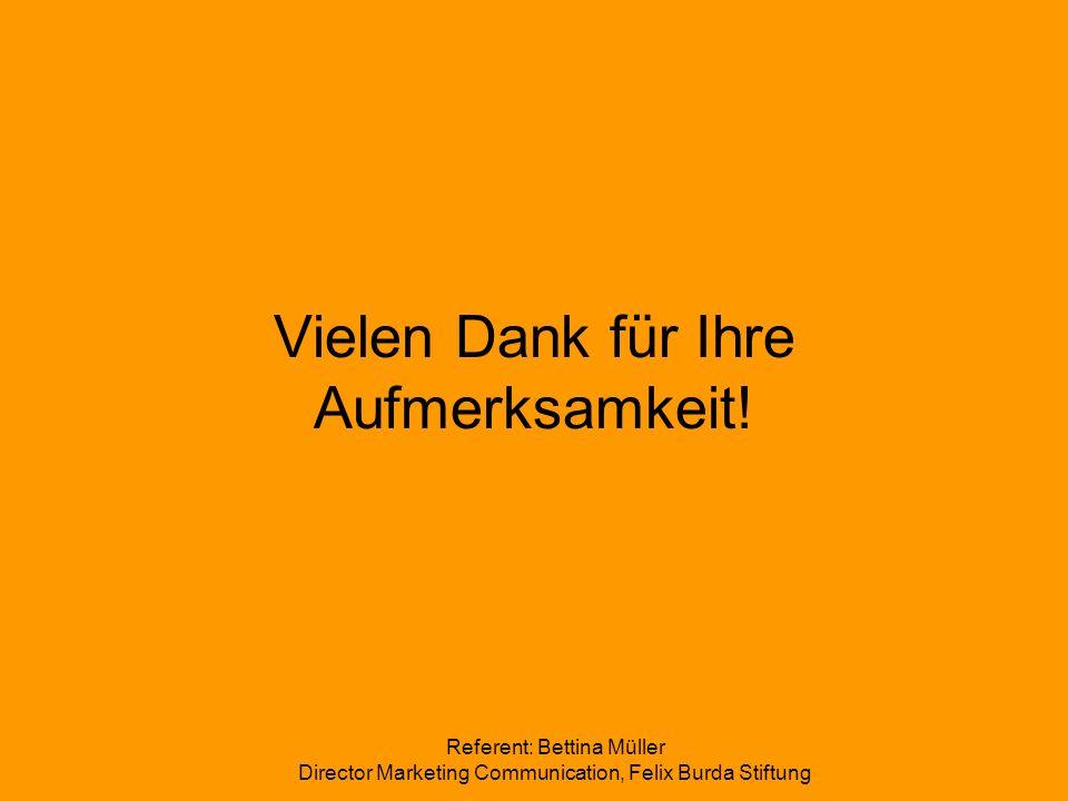 Referent: Bettina Müller Director Marketing Communication, Felix Burda Stiftung Vielen Dank für Ihre Aufmerksamkeit!