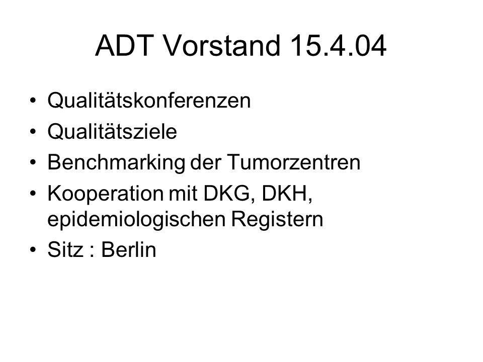 ADT Vorstand 15.4.04 Qualitätskonferenzen Qualitätsziele Benchmarking der Tumorzentren Kooperation mit DKG, DKH, epidemiologischen Registern Sitz : Berlin