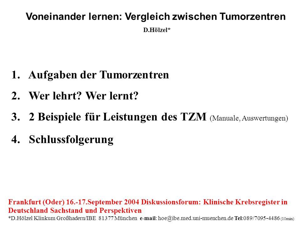 1. Aufgaben der Tumorzentren 2. Wer lehrt? Wer lernt? 3. 2 Beispiele für Leistungen des TZM (Manuale, Auswertungen) 4. Schlussfolgerung Frankfurt (Ode