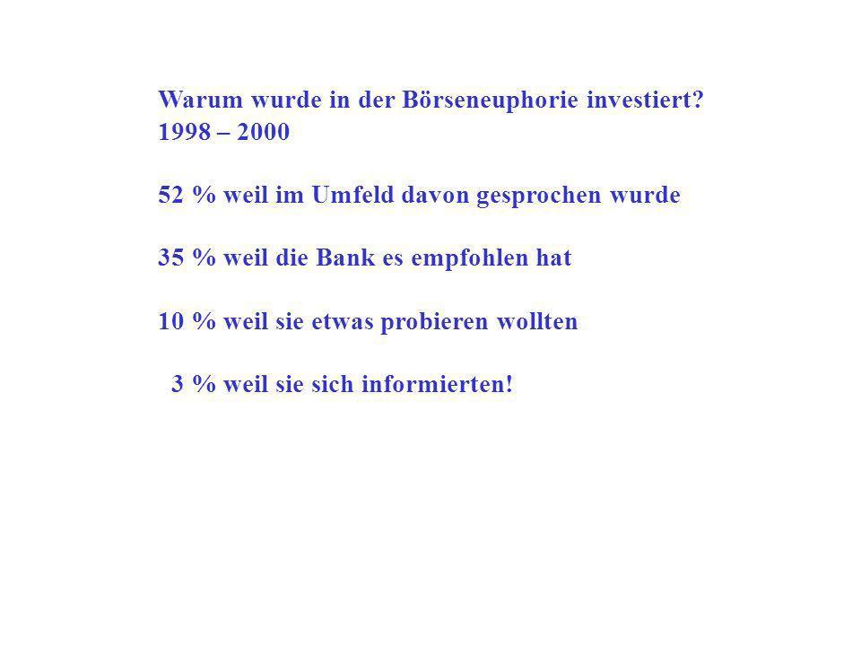 Warum wurde in der Börseneuphorie investiert.