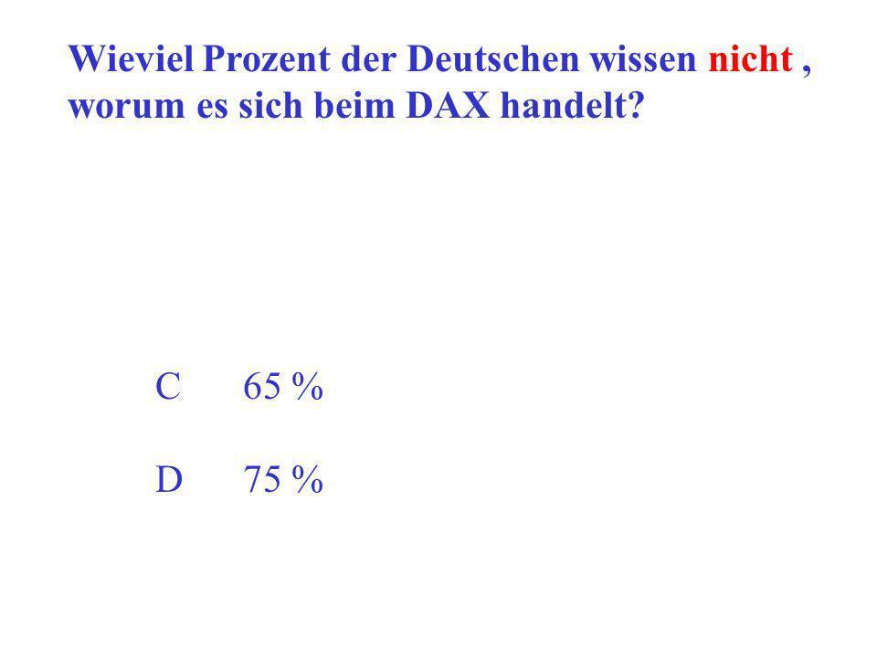 Wieviel Prozent der Deutschen wissen nicht, worum es sich beim DAX handelt? C65 % D75 %