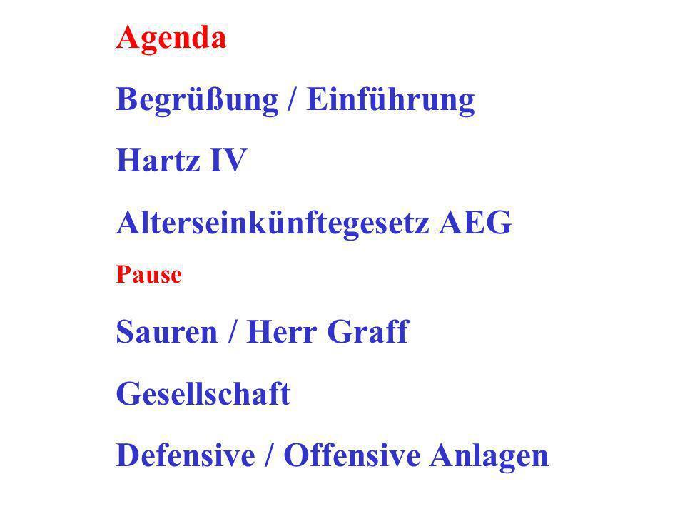 Agenda Begrüßung / Einführung Hartz IV Alterseinkünftegesetz AEG Pause Sauren / Herr Graff Gesellschaft Defensive / Offensive Anlagen
