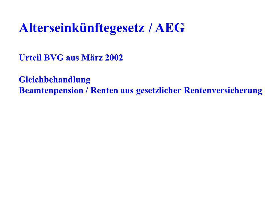 Urteil BVG aus März 2002 Gleichbehandlung Beamtenpension / Renten aus gesetzlicher Rentenversicherung