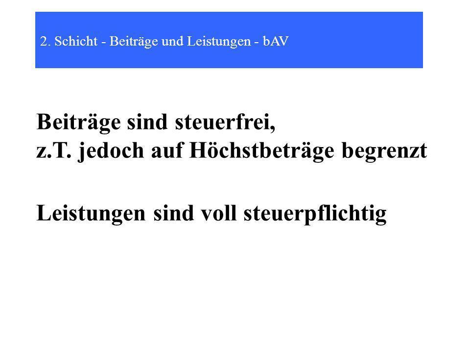 2.Schicht - Beiträge und Leistungen - bAV Beiträge sind steuerfrei, z.T.